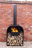 Contemporary Steel Chimenea with Log Store