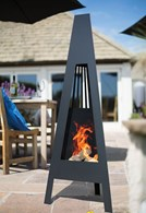 Contemporary Steel Chimenea with Cut Out Pattern