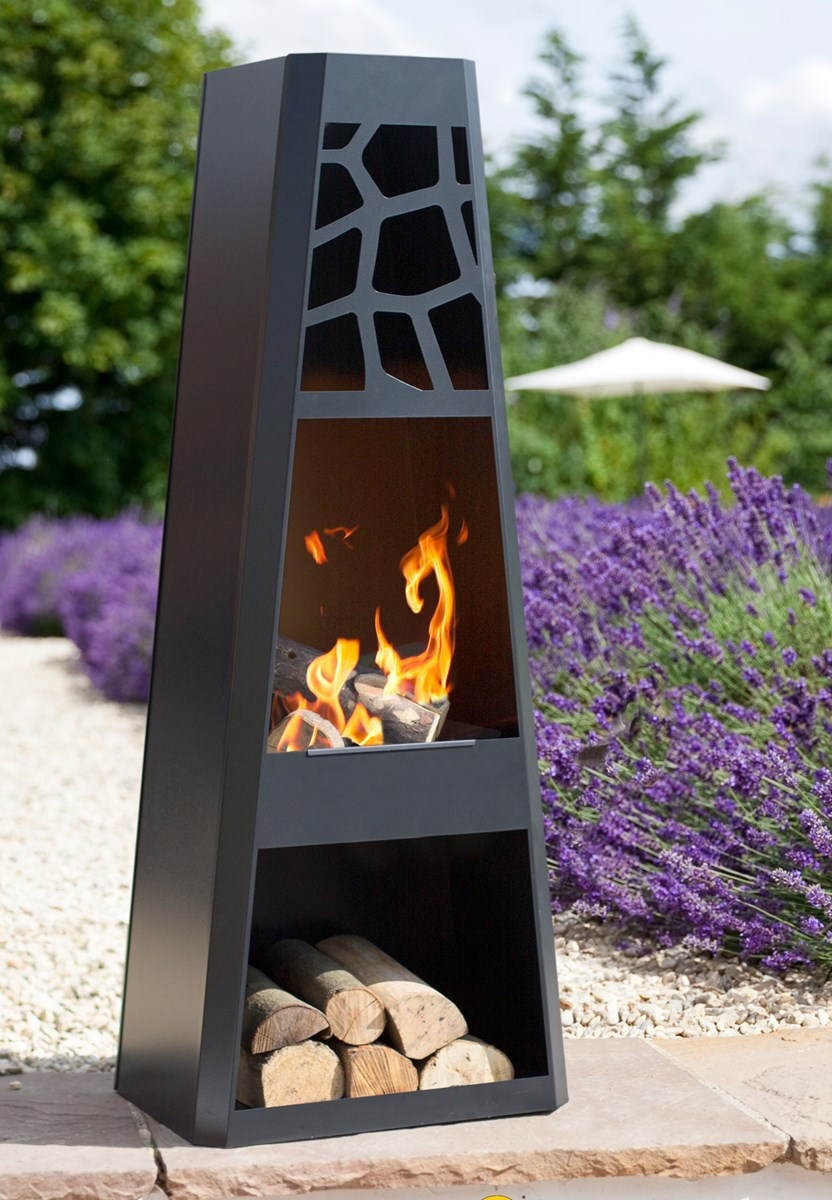 Contemporary Steel Chimnea With Log Store