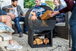 Contemporary Steel Firepit with Log Store