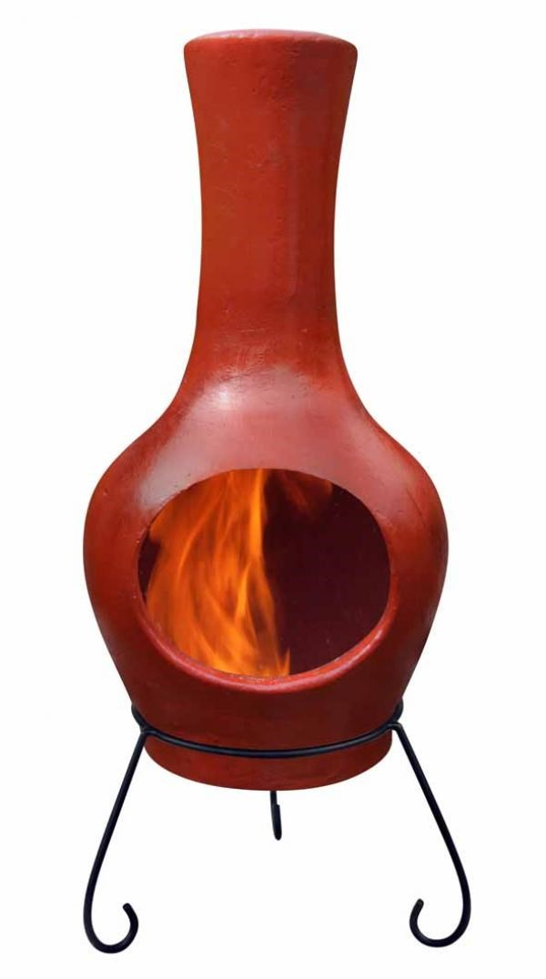 large contemporary clay chimenea  red savvysurfcouk