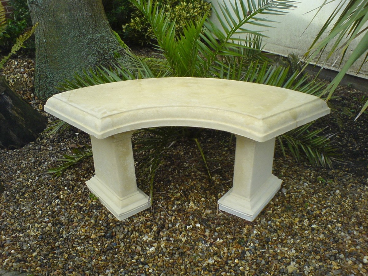 Country stone curved garden bench natural cream Stone garden bench