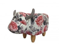Cow Footstool with Floral Design