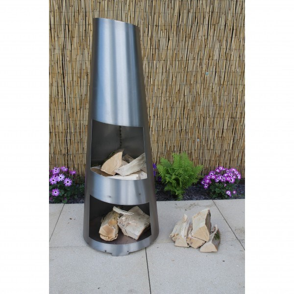 Deluxe Contemporary Stainless Steel Chimenea Colour Changing