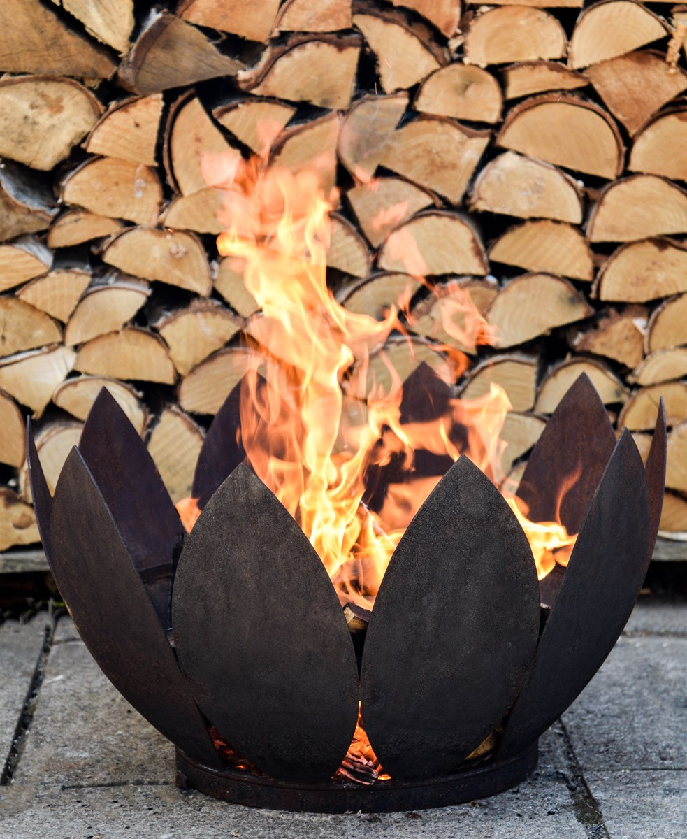 Deluxe Flower Firepit in Rust or Black