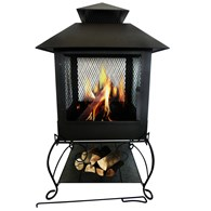 Deluxe Steel Firepit with Log Shelf