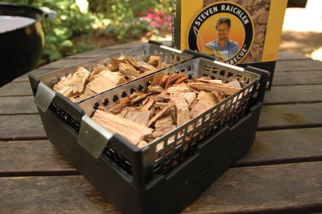 Steven raichlen barbeque tools soak smoke wood chip
