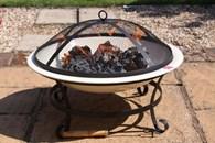 Enamelled Steel Fire Bowl in Ivory