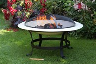 Enamelled Steel Fire Pit in Ivory Extra Large