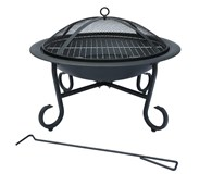 Enamelled Steel Firepit with BBQ Grill