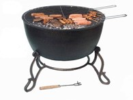 Extra Large Cast Iron Fire Bowl with Grill