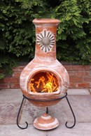 Extra Large Clay Chimenea Sol in Rustic Orange