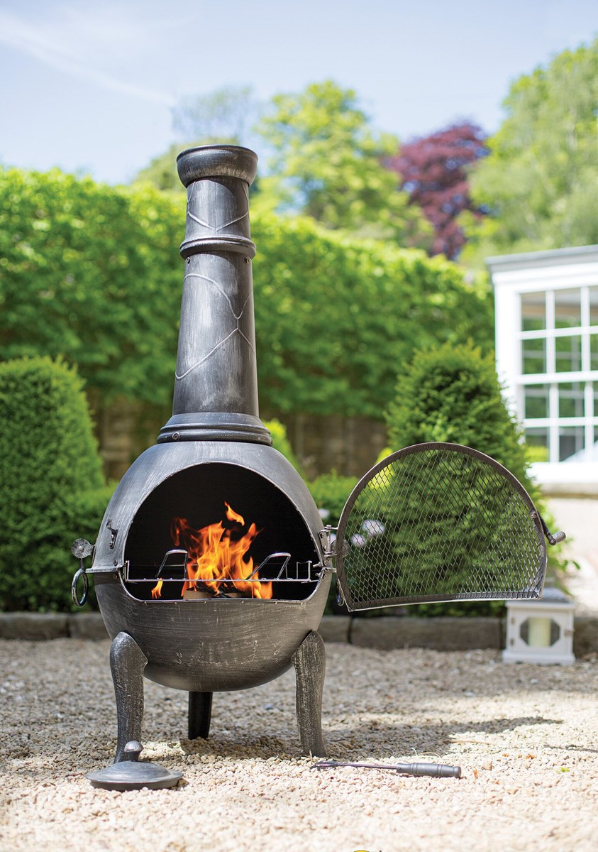 Extra large steel chimenea in pewter effect with bbq grill - Chimeneas orus ...