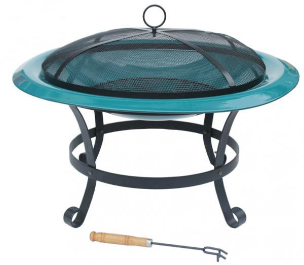 Extra Large Steel Enamelled Fire Bowl Green