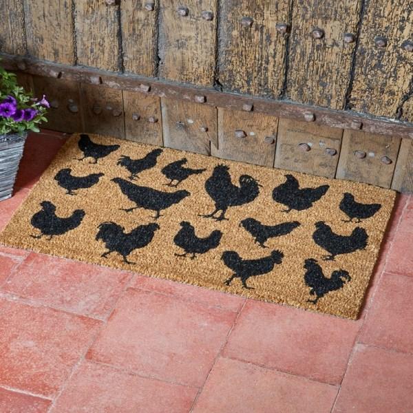 Farm House Hen Coir Door Mat