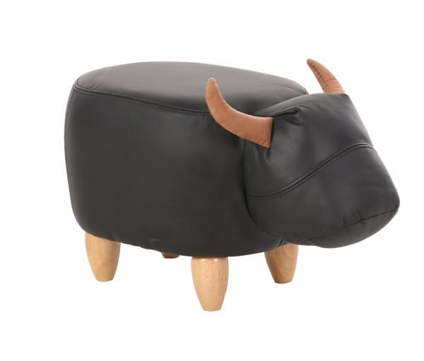 Faux Leather Cow Footstool