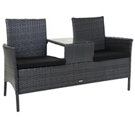 Faux Rattan Companion Bench with Table
