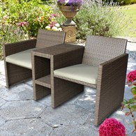 Faux Rattan Bistro Set with Cushions