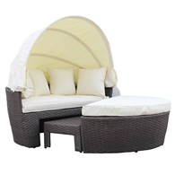 Faux Rattan Day Bed with Foot Stool and Table