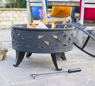 Fire Pit and BBQ Grill with Cut out Diamonds