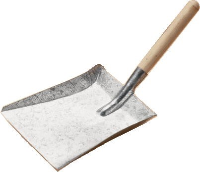 Galvansied Fireplace Shovel with Wooden Handle