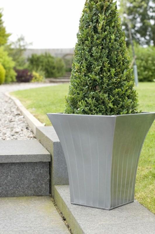 metal plant pot flared contemporary planter designer metal. Black Bedroom Furniture Sets. Home Design Ideas