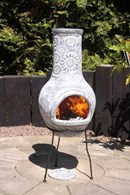 Flower Clay Chimenea in Grey