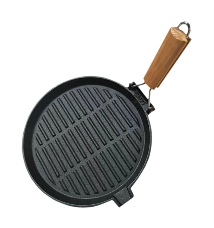 Folding Cast Iron Ribbed Skillet Pan