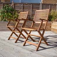 Folding Garden Wooden Arm Chairs Pair