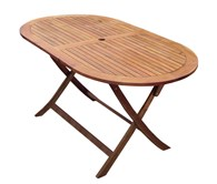 Folding Wooden Garden Table Oval
