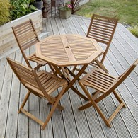 Folding Wooden Table and Chairs for the Garden