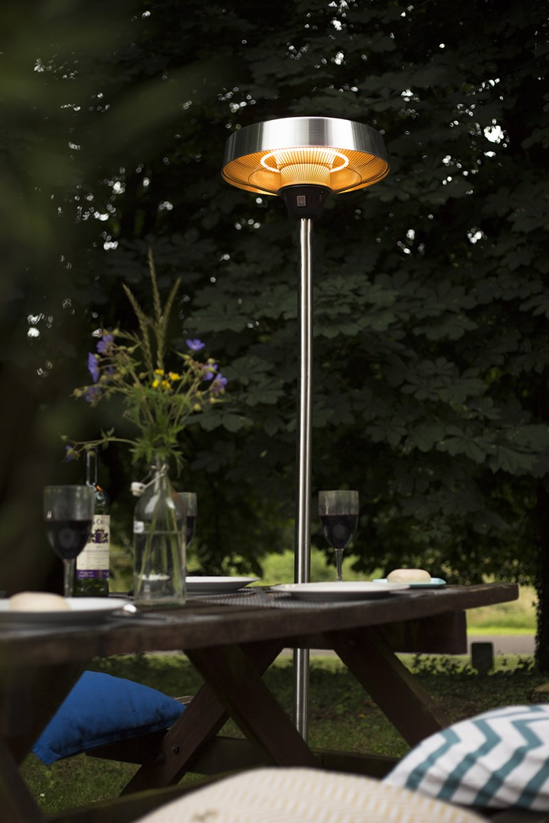 Outdoor Electric Patio Heater Reviews: Free Standing Silver Electric Patio Heater