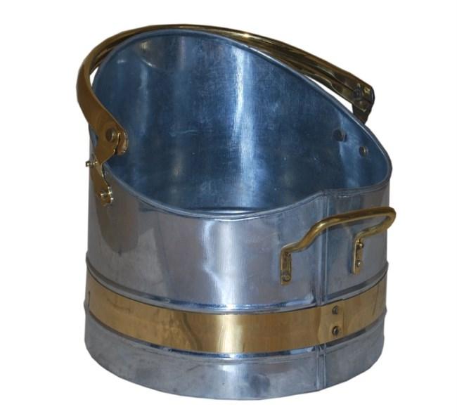 Galvanized Coal Bucket with Brass Band Coal Hod