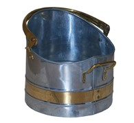 Galvanized Coal Bucket with Brass Band Coal Hod