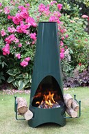 Garden Green Steel Chimenea with Log Store