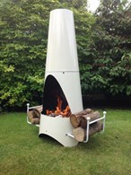Garden Ivory Enamel Steel Chimenea with Log Store
