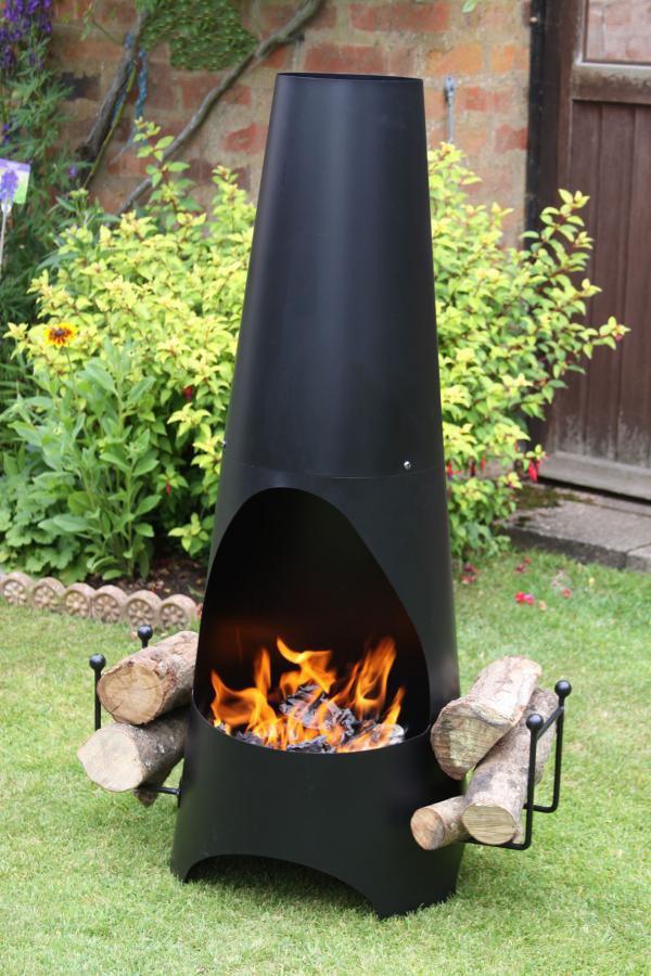 Garden Steel Chimenea With Log Store Savvysurf Co Uk