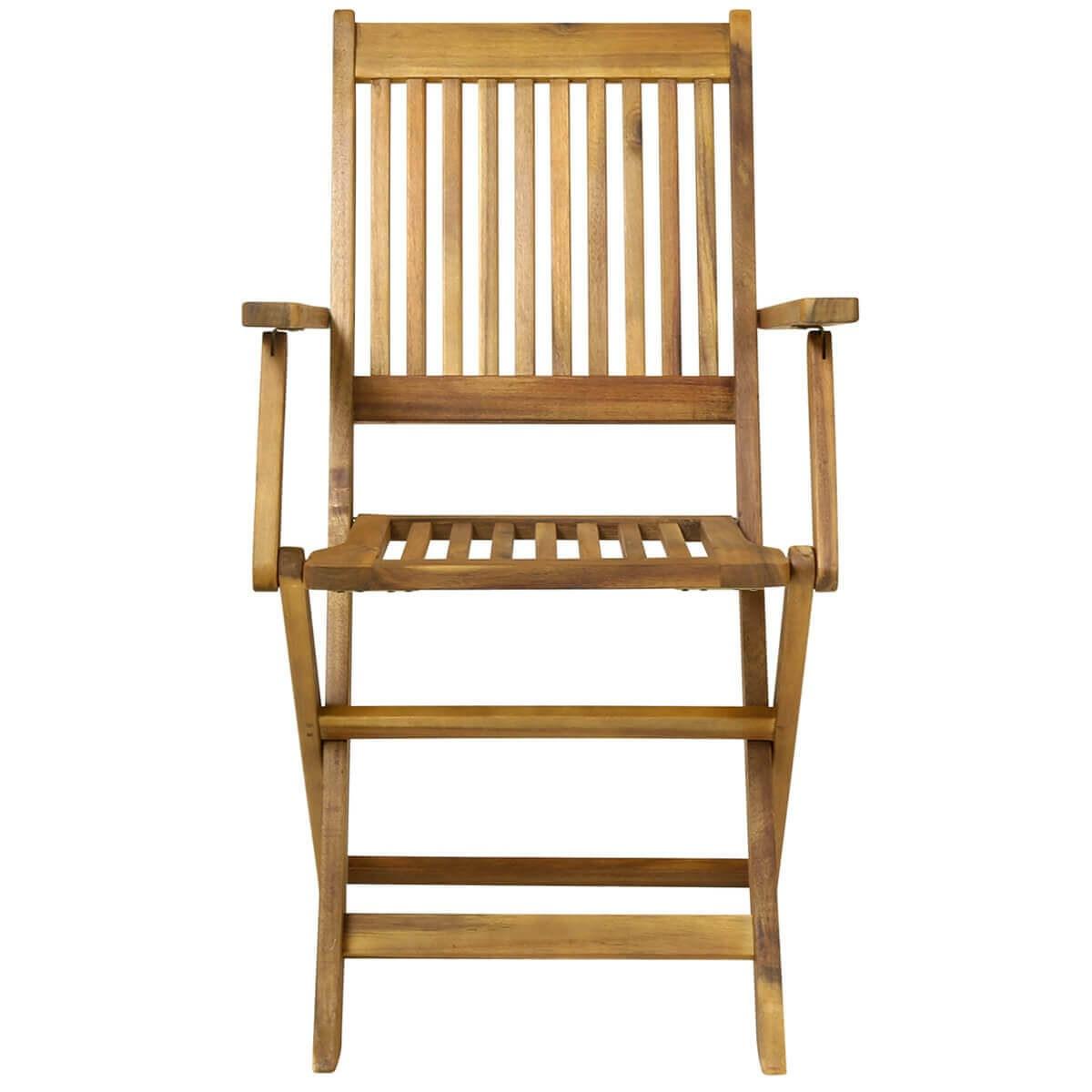 Folding Garden Wooden Arm Chairs Pair - savvysurf.co.uk