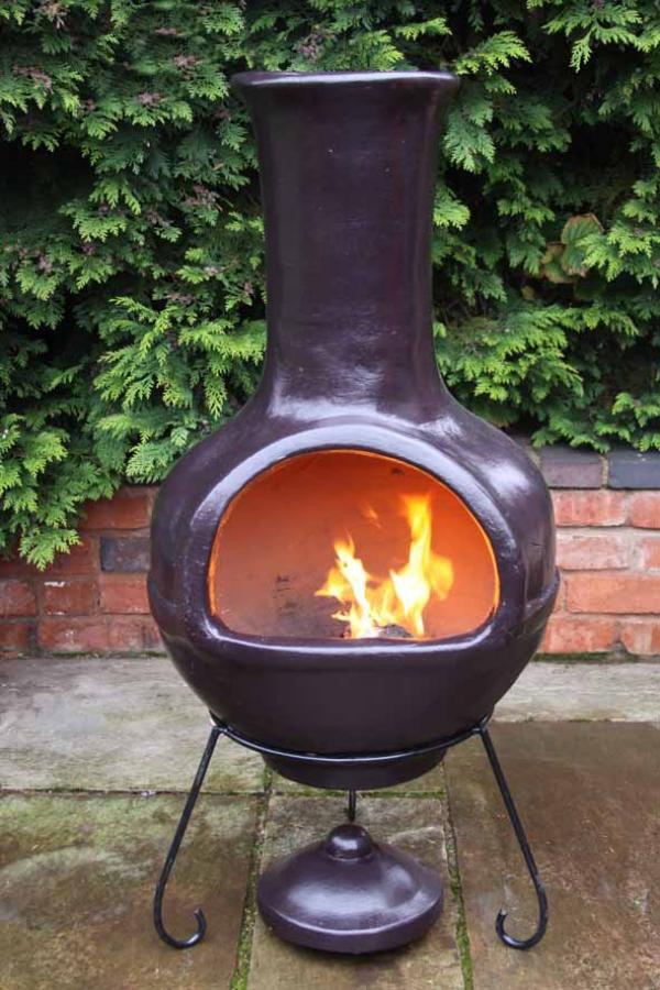 Red Clay Chimenea Jumbo Chiminea Patio Heater Fire Bowl Barbeque Family Chimenea Ebay