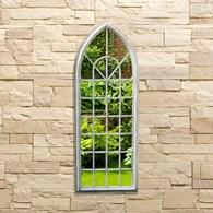 Gothic Style Garden Mirror in Shabby Chic White