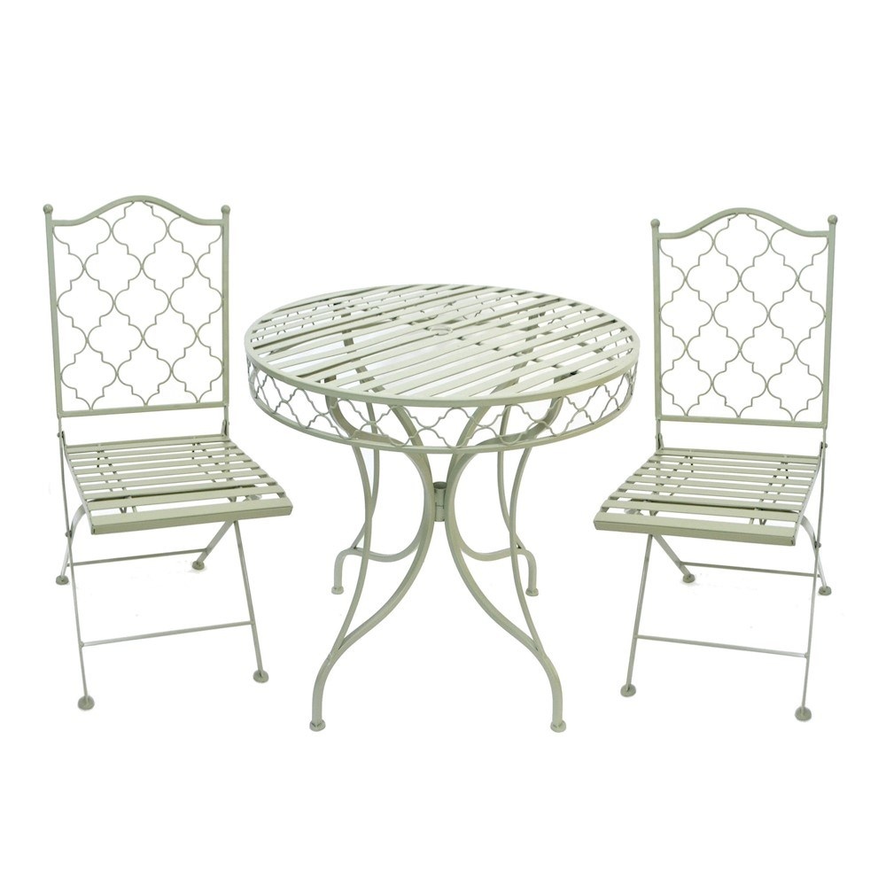 Green Metal Bistro Set Garden Dining