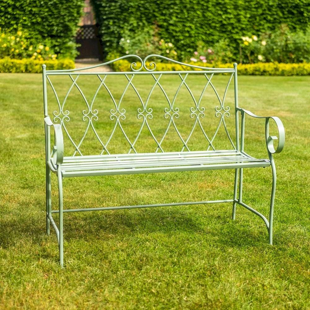 Green Ornate Steel Bench