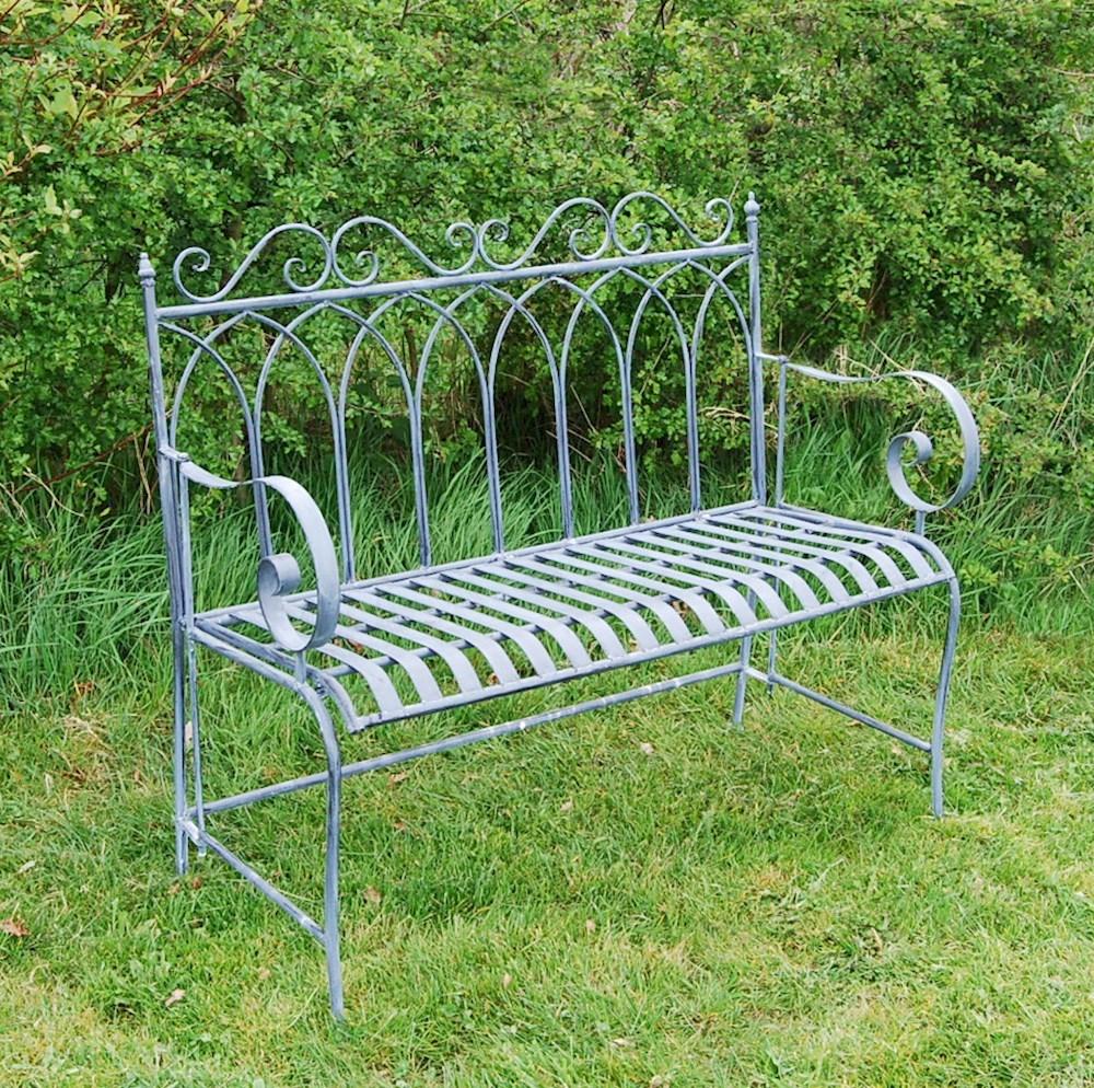 Grey Shabby Chic Metal Garden Bench