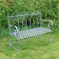 Grey Shabby Chic Metal Garden Bench