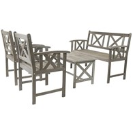 Grey Wooden Garden Furniture Set 5 Seater