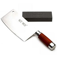 Hot Wok Cleaver Knife with Sharpening Stone