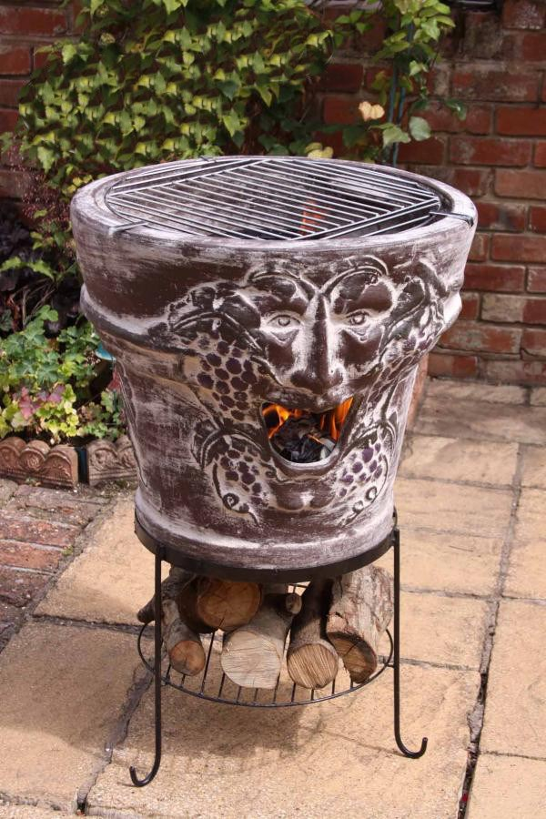 Huge Clay Fire Bowl with BBQ Grill