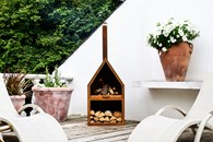 Iron Outdoor Fireplace Chimenea with Log Store