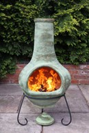 Jumbo Mexican Clay Chimenea Green or Brown
