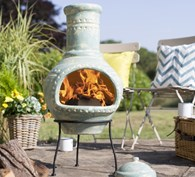 Large Aqua Blue Clay Chimenea